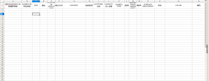 Preview of China Petrographic Database Master Spreadsheet with Chinese